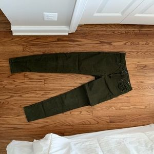 Army green stretch skinny jeans